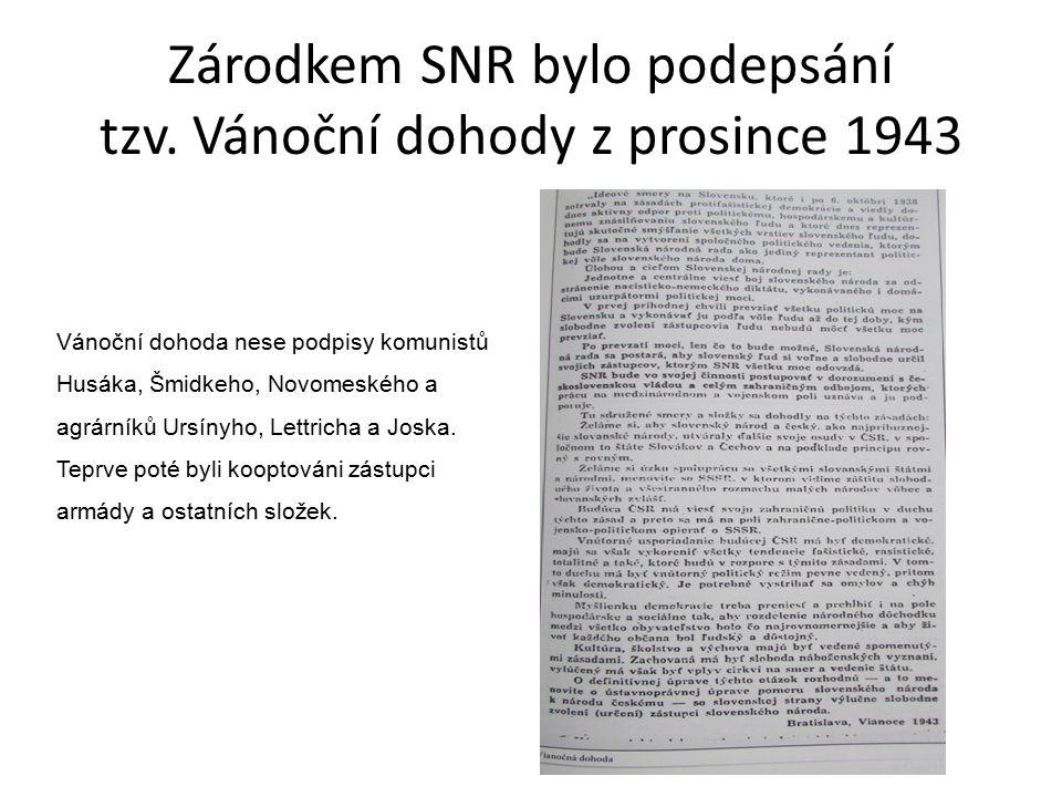 Zárodkem SNR bylo podepsání tzv. Vánoční dohody z prosince 1943