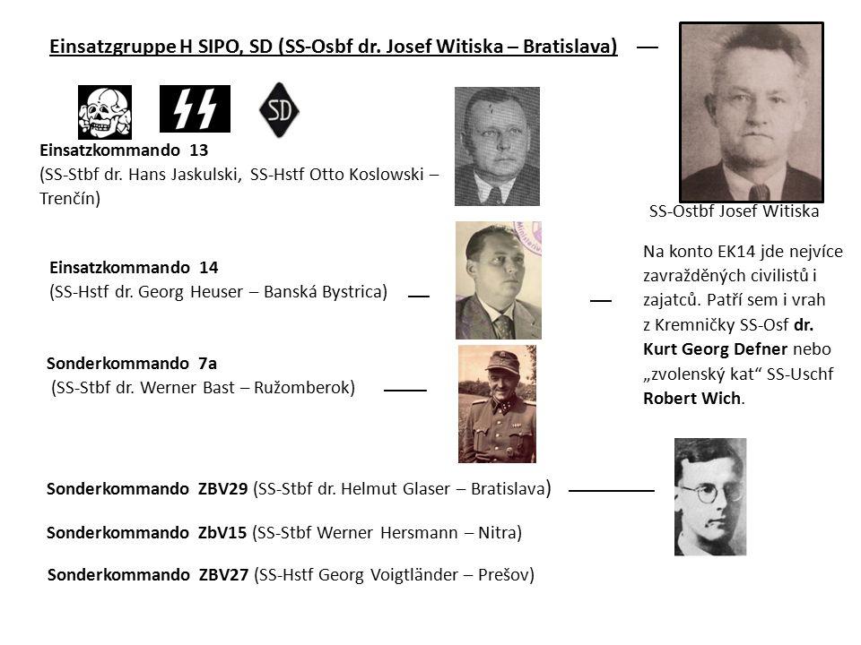 Einsatzgruppe H SIPO, SD (SS-Osbf dr. Josef Witiska – Bratislava)