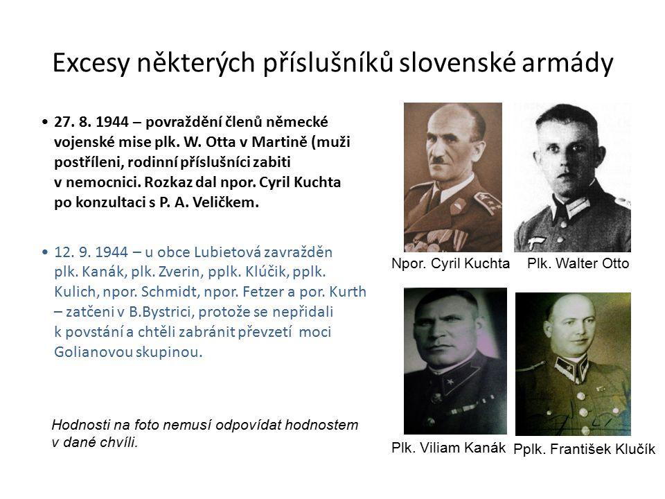 Excesy některých příslušníků slovenské armády