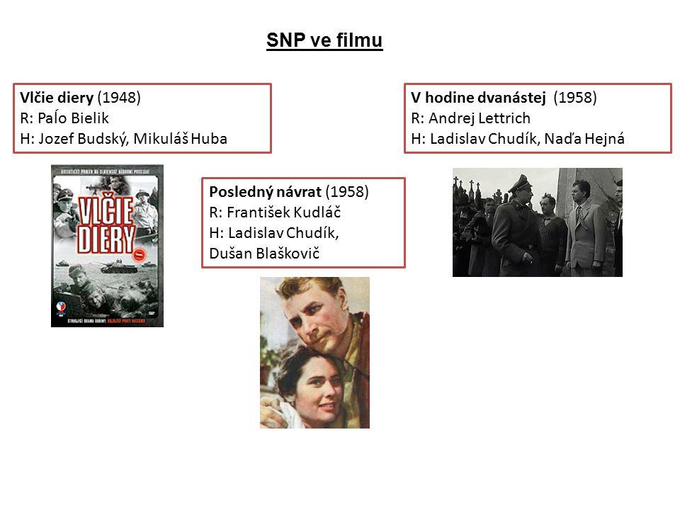SNP ve filmu Vlčie diery (1948) R: Paĺo Bielik H: Jozef Budský, Mikuláš Huba.
