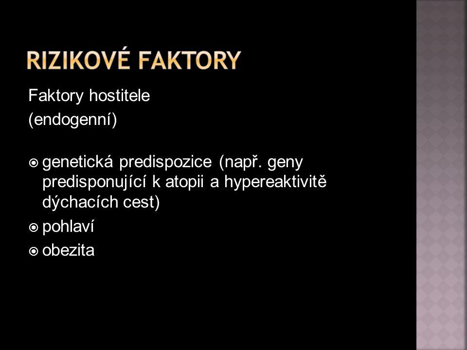 Rizikové faktory Faktory hostitele (endogenní)