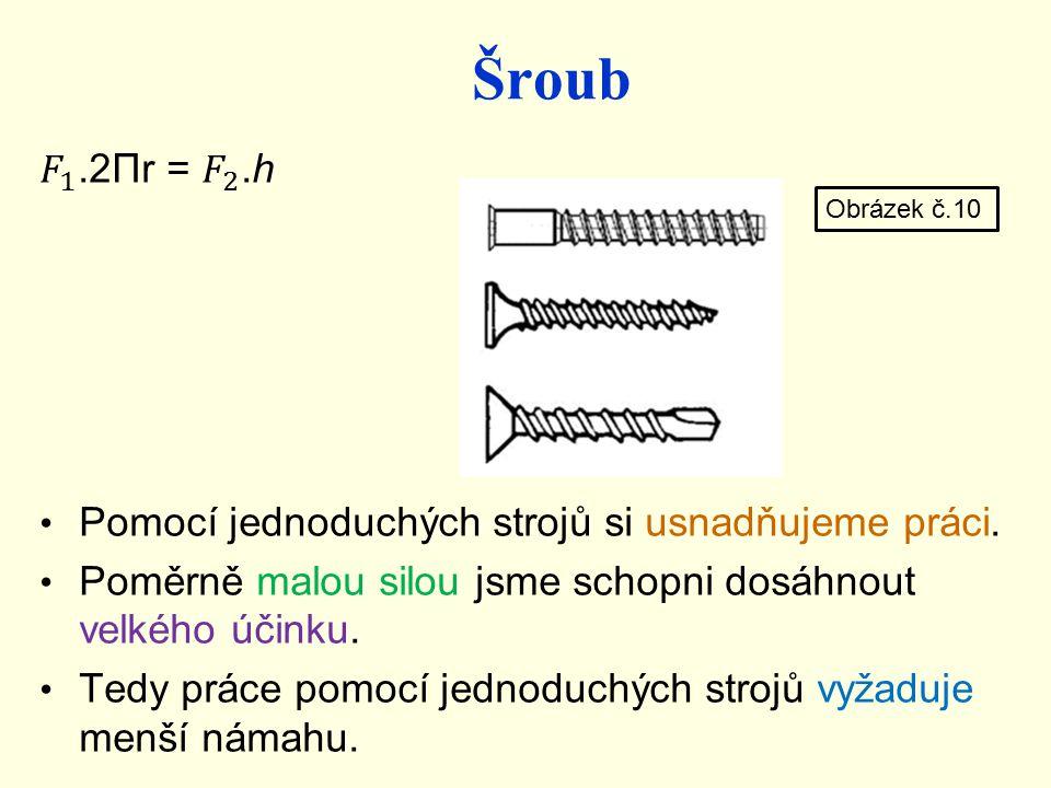 Šroub 𝐹 1 .2Πr = 𝐹 2 .h. Pomocí jednoduchých strojů si usnadňujeme práci. Poměrně malou silou jsme schopni dosáhnout velkého účinku.