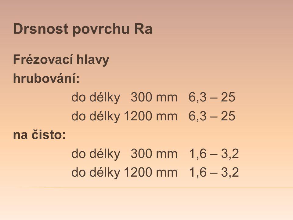 Drsnost povrchu Ra Frézovací hlavy hrubování: do délky 300 mm 6,3 – 25