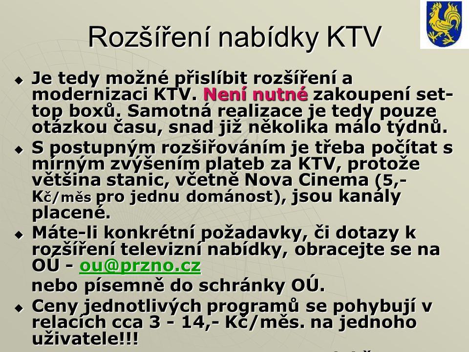Rozšíření nabídky KTV