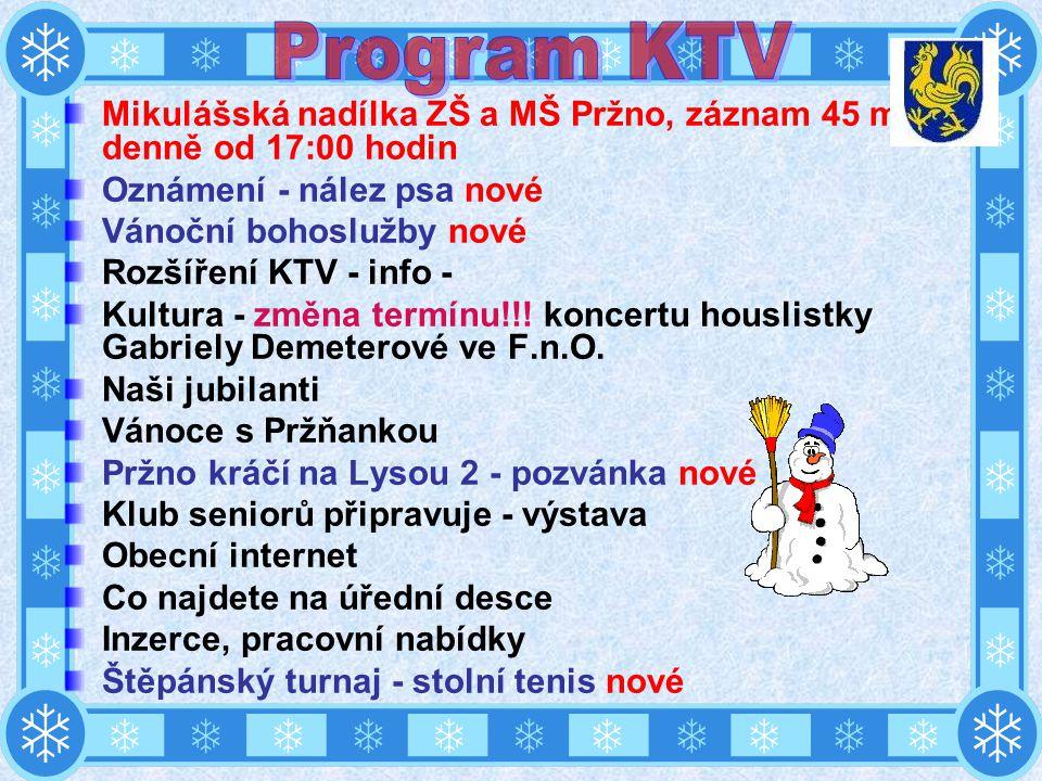 Program KTV Mikulášská nadílka ZŠ a MŠ Pržno, záznam 45 min, denně od 17:00 hodin. Oznámení - nález psa nové.