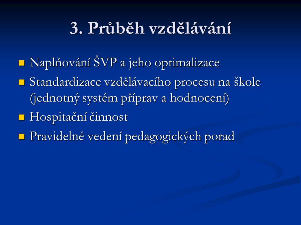 3. Průběh vzdělávání Naplňování ŠVP a jeho optimalizace
