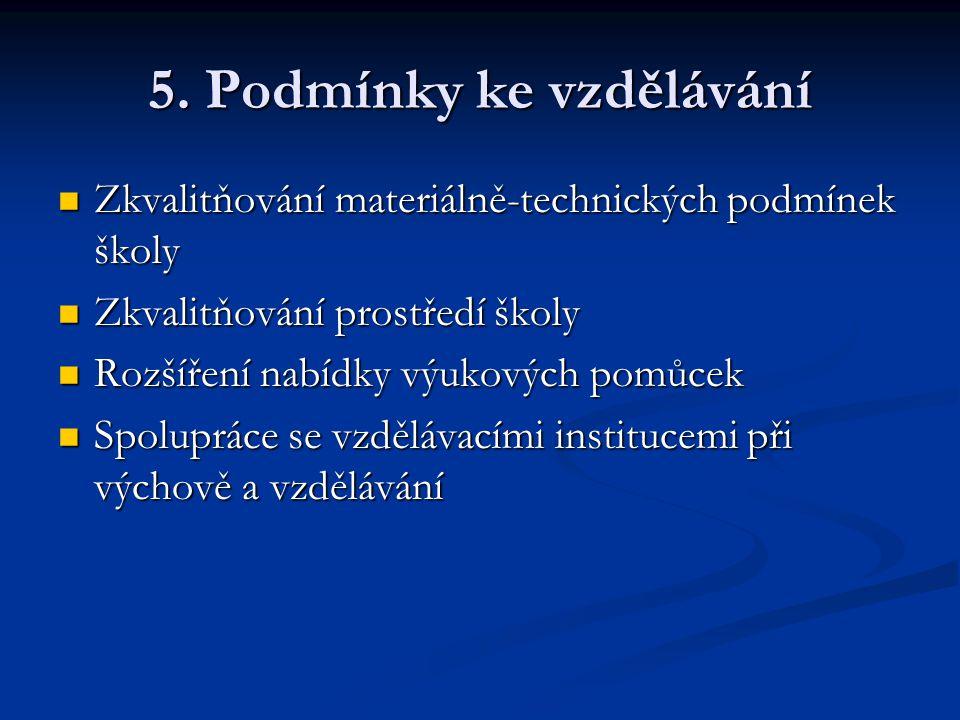 5. Podmínky ke vzdělávání