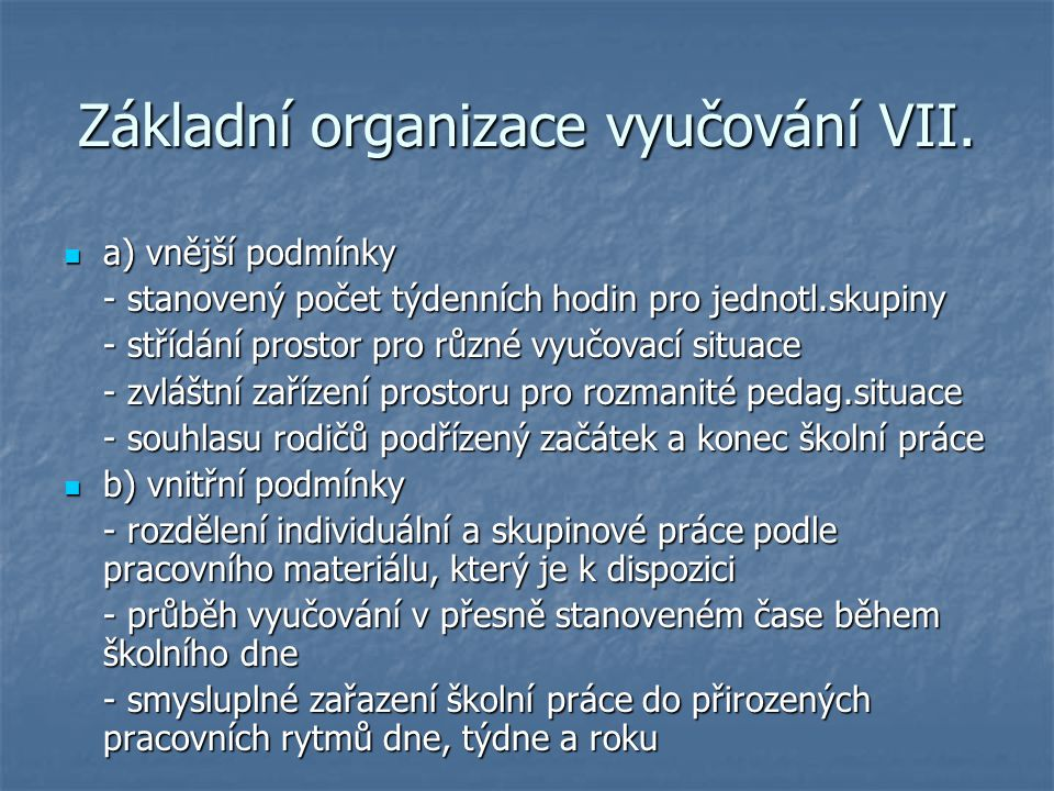 Základní organizace vyučování VII.