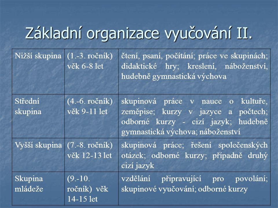 Základní organizace vyučování II.