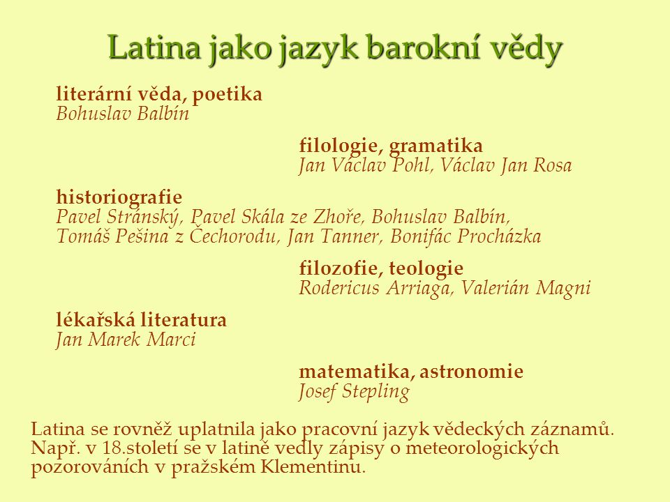 Latina jako jazyk barokní vědy