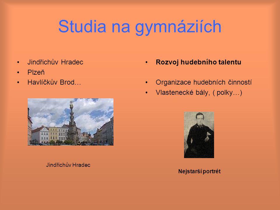 Studia na gymnáziích Jindřichův Hradec Plzeň Havlíčkův Brod…