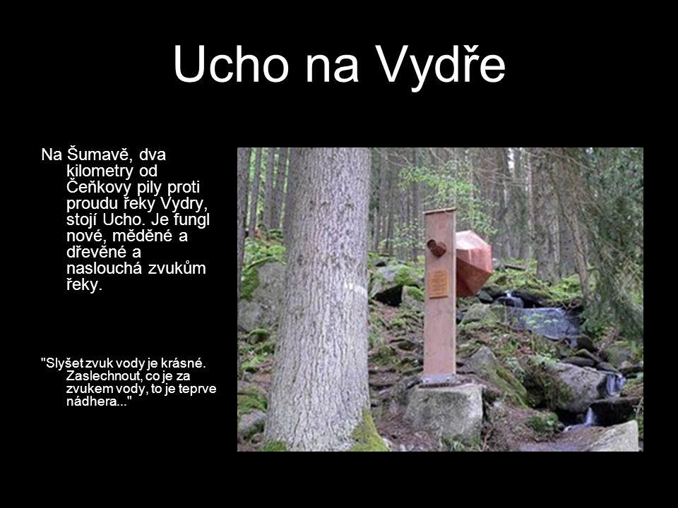 Ucho na Vydře Na Šumavě, dva kilometry od Čeňkovy pily proti proudu řeky Vydry, stojí Ucho. Je fungl nové, měděné a dřevěné a naslouchá zvukům řeky.