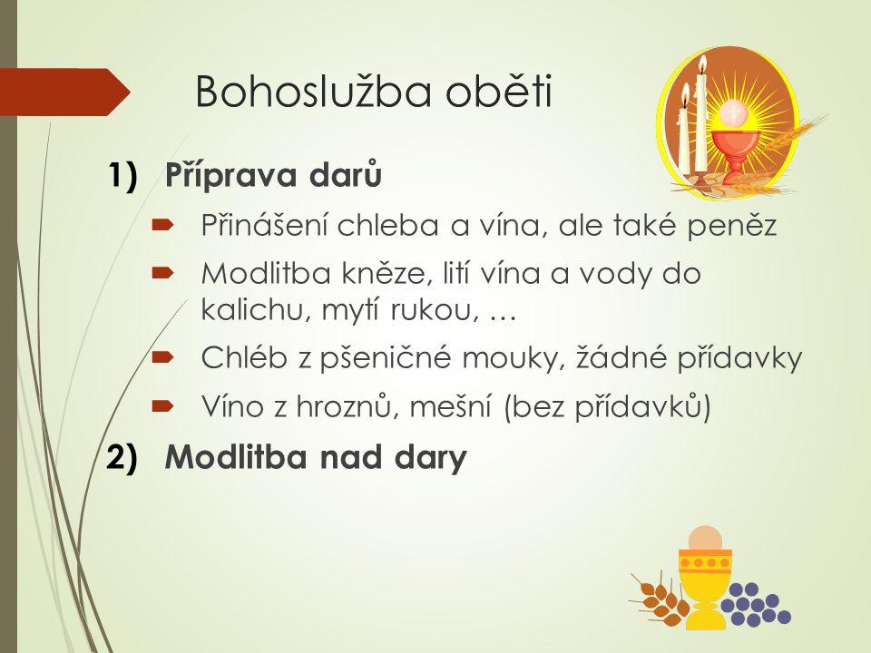Bohoslužba oběti Příprava darů Modlitba nad dary