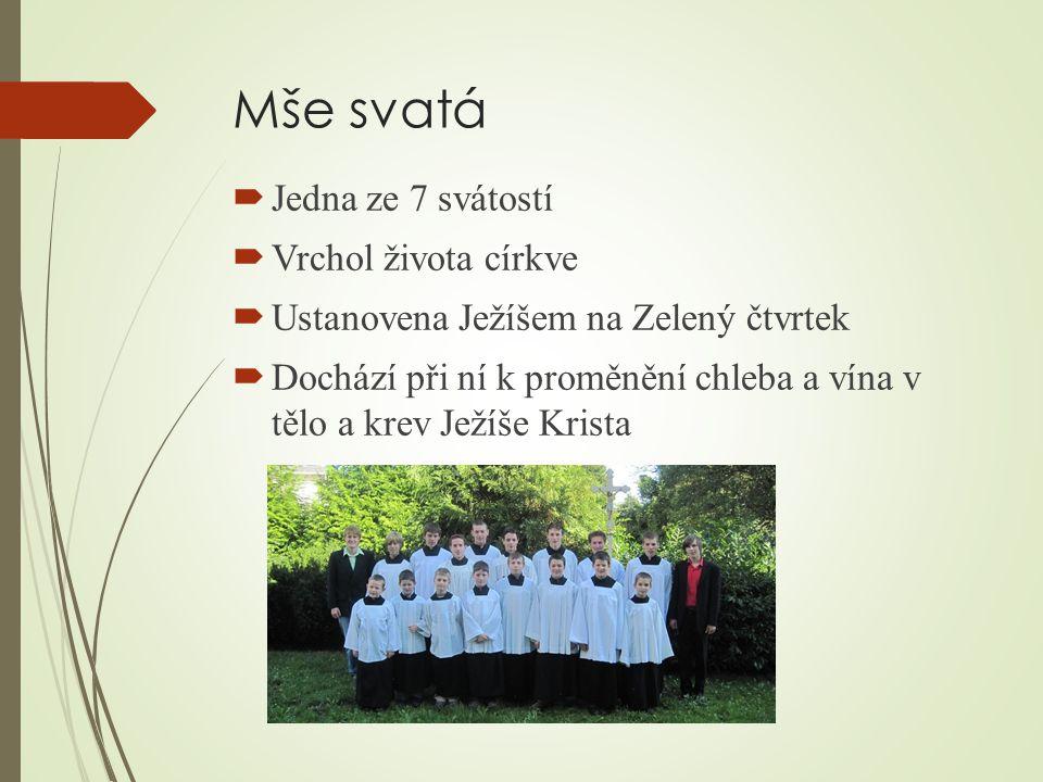 Mše svatá Jedna ze 7 svátostí Vrchol života církve