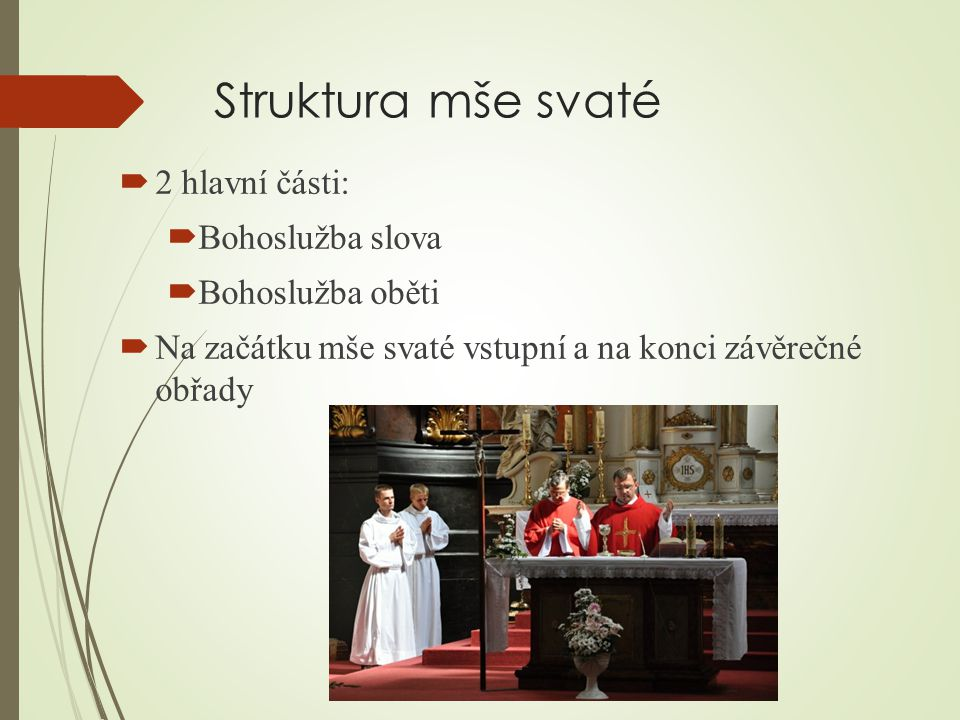 Struktura mše svaté 2 hlavní části: Bohoslužba slova Bohoslužba oběti