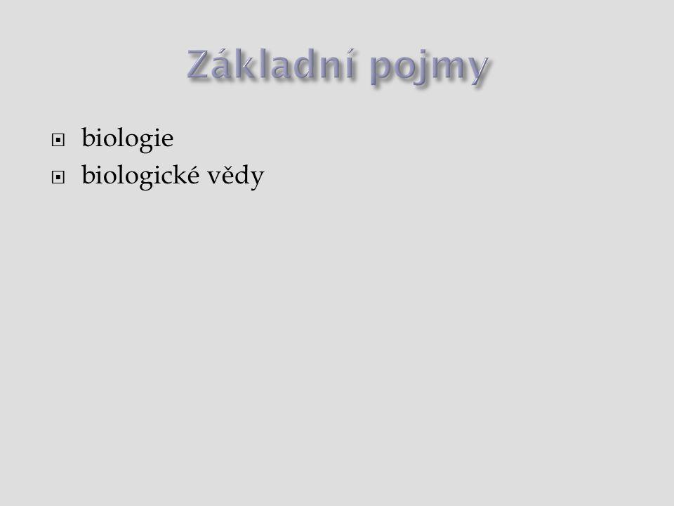Základní pojmy biologie biologické vědy