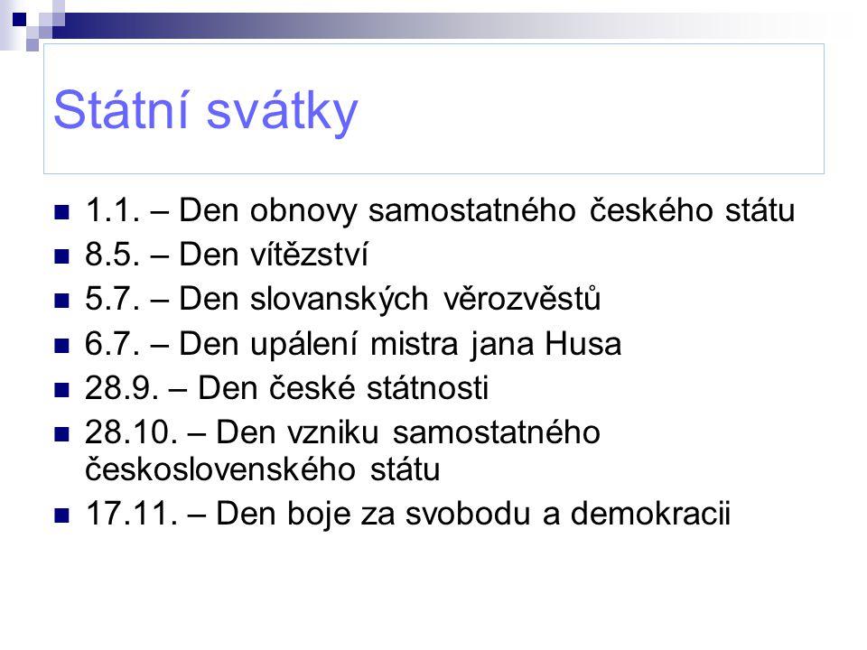 Státní svátky 1.1. – Den obnovy samostatného českého státu