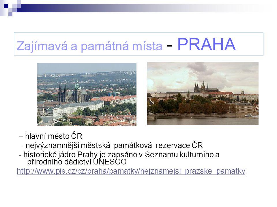 Zajímavá a památná místa - PRAHA