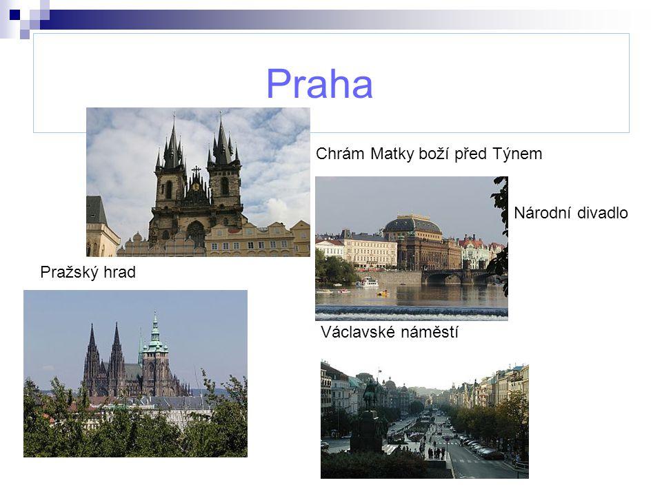 Praha Chrám Matky boží před Týnem Národní divadlo Pražský hrad