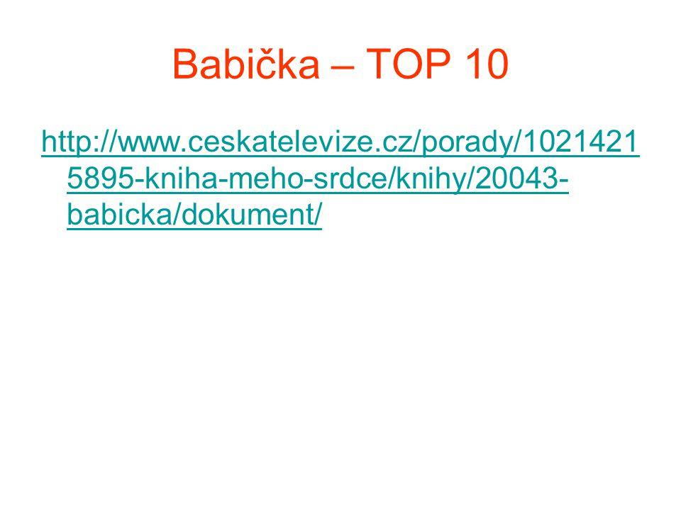 Babička – TOP 10 http://www.ceskatelevize.cz/porady/10214215895-kniha-meho-srdce/knihy/20043-babicka/dokument/