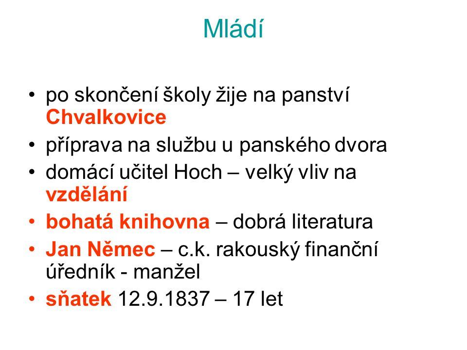 Mládí po skončení školy žije na panství Chvalkovice
