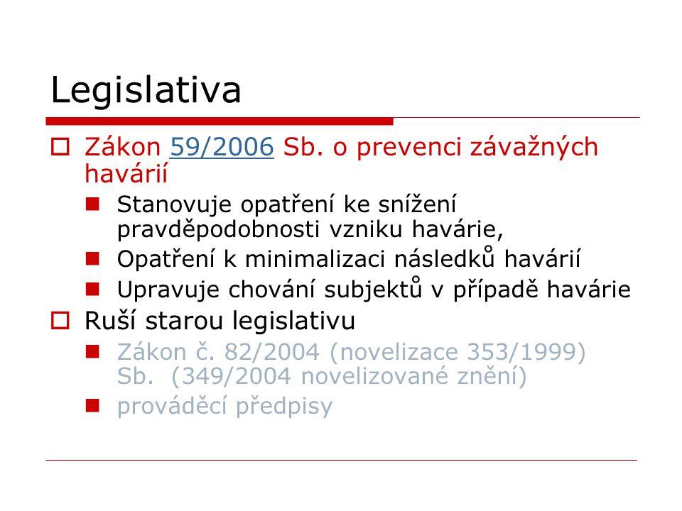 Legislativa Zákon 59/2006 Sb. o prevenci závažných havárií