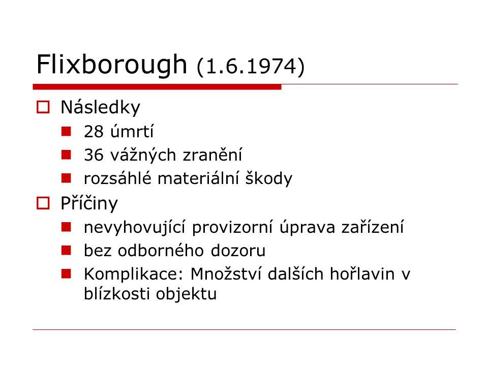 Flixborough (1.6.1974) Následky Příčiny 28 úmrtí 36 vážných zranění