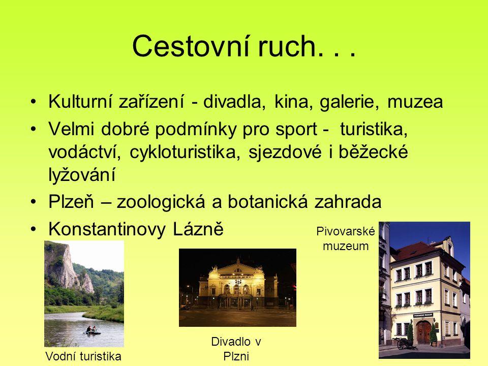 Cestovní ruch. . . Kulturní zařízení - divadla, kina, galerie, muzea