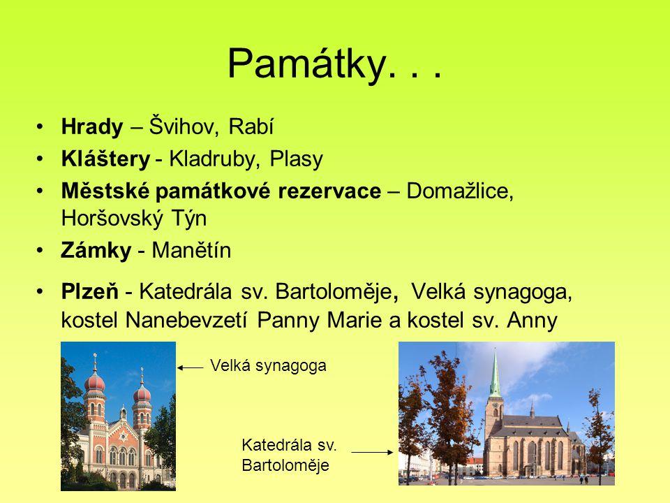 Památky. . . Hrady – Švihov, Rabí Kláštery - Kladruby, Plasy