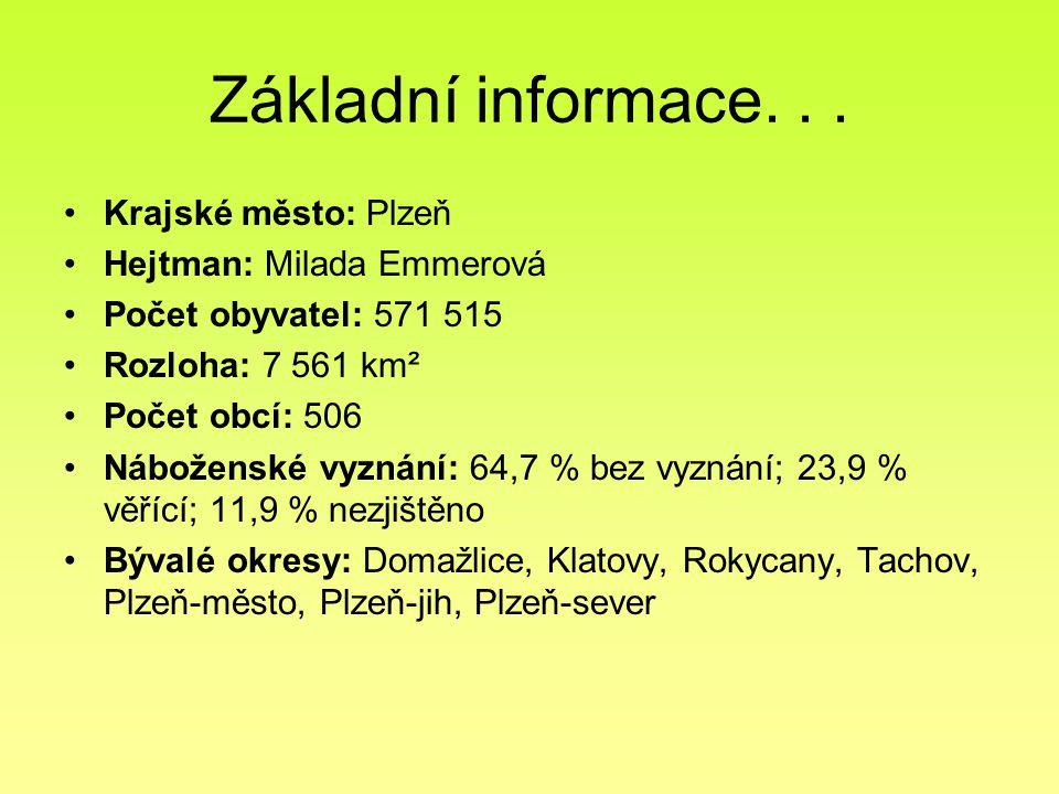 Základní informace. . . Krajské město: Plzeň Hejtman: Milada Emmerová