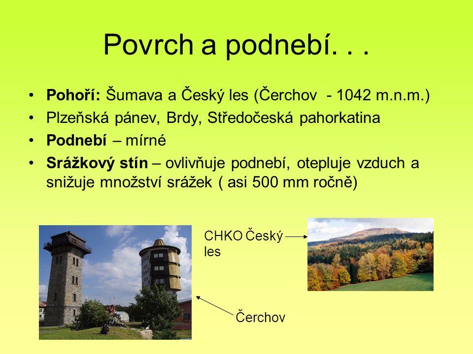 Povrch a podnebí. . . Pohoří: Šumava a Český les (Čerchov - 1042 m.n.m.) Plzeňská pánev, Brdy, Středočeská pahorkatina.