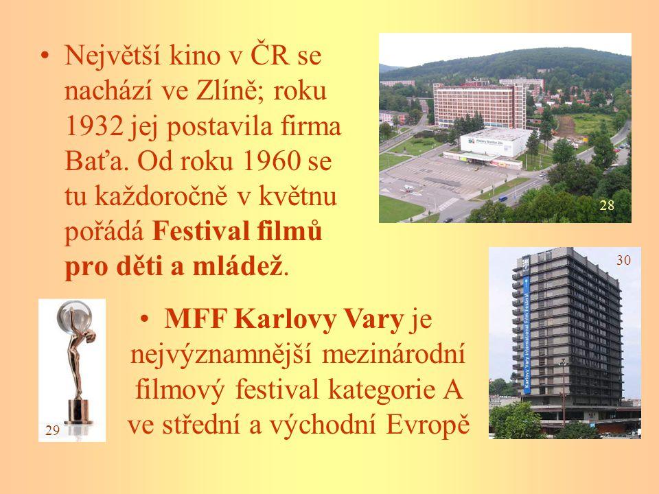 Největší kino v ČR se nachází ve Zlíně; roku 1932 jej postavila firma Baťa. Od roku 1960 se tu každoročně v květnu pořádá Festival filmů pro děti a mládež.
