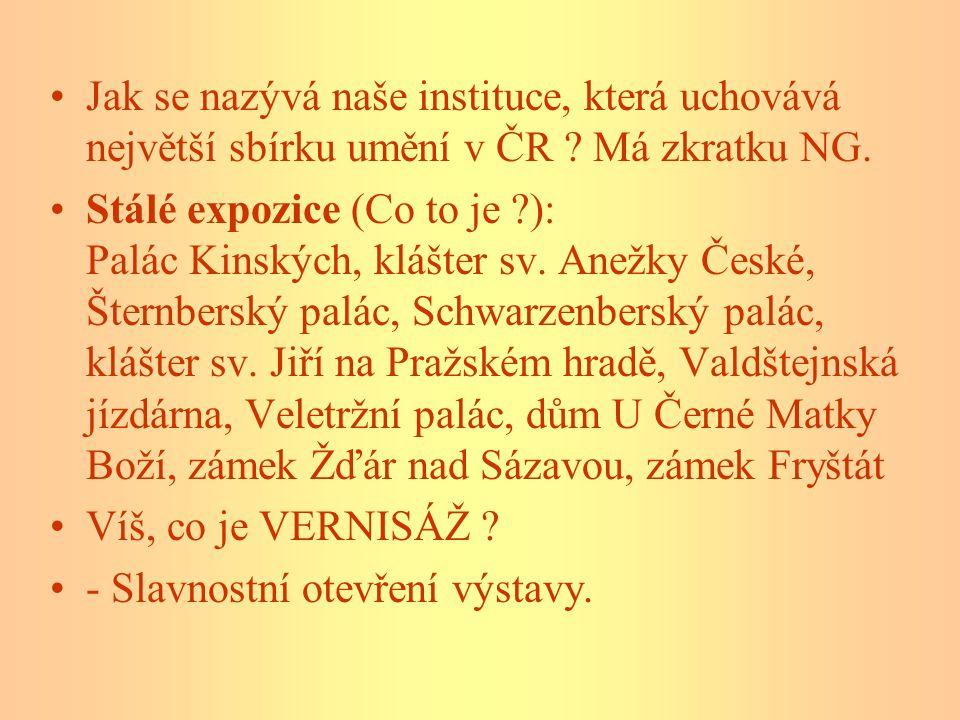 Jak se nazývá naše instituce, která uchovává největší sbírku umění v ČR Má zkratku NG.