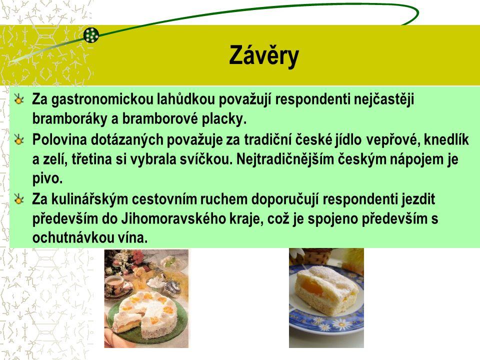 Závěry Za gastronomickou lahůdkou považují respondenti nejčastěji bramboráky a bramborové placky.