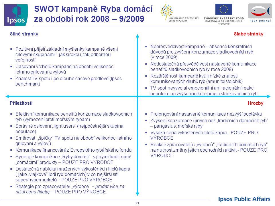 SWOT kampaně Ryba domácí za období rok 2008 – 9/2009