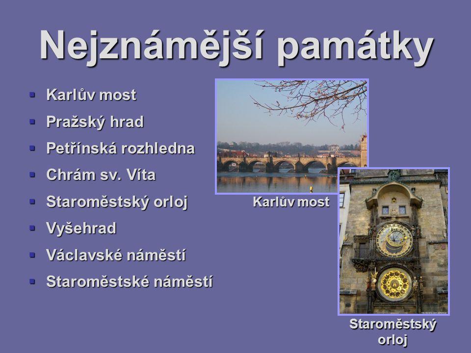 Nejznámější památky Karlův most Pražský hrad Petřínská rozhledna