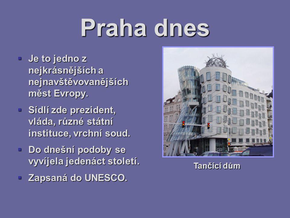 Praha dnes Je to jedno z nejkrásnějších a nejnavštěvovanějších měst Evropy. Sídlí zde prezident, vláda, různé státní instituce, vrchní soud.