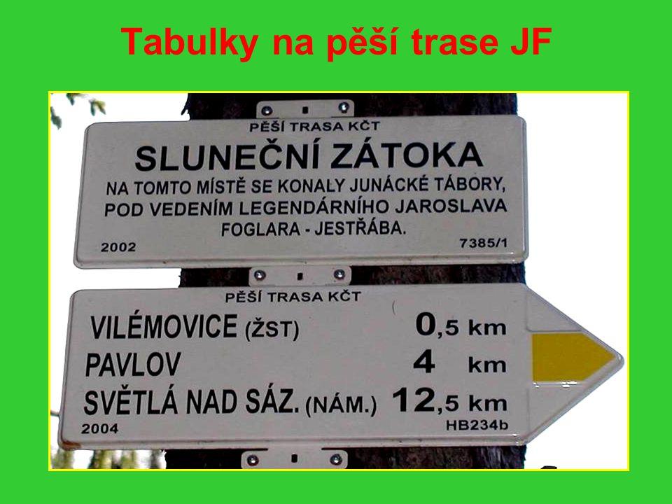 Tabulky na pěší trase JF