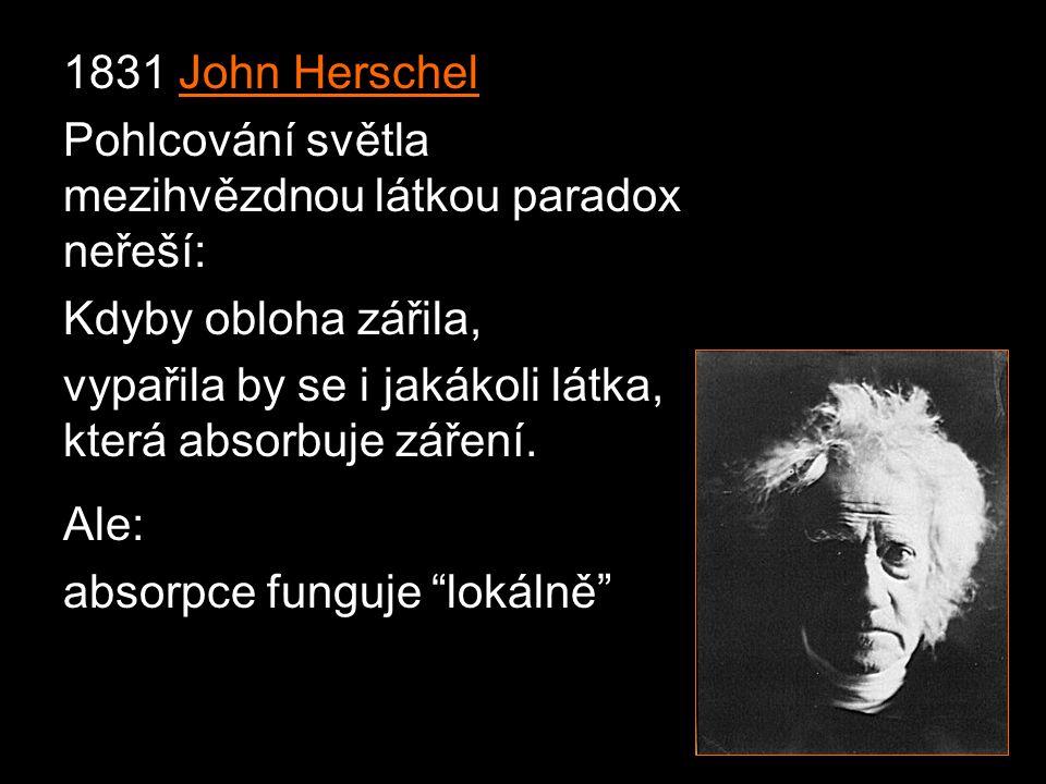 1831 John Herschel Pohlcování světla mezihvězdnou látkou paradox neřeší: Kdyby obloha zářila,