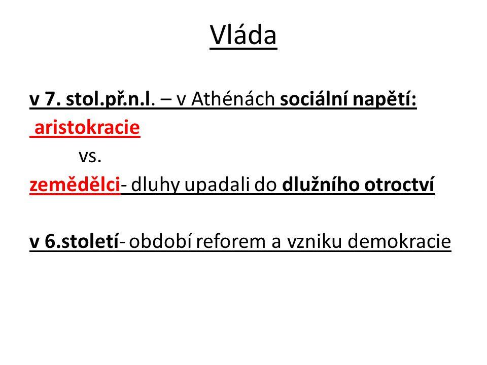 Vláda v 7. stol.př.n.l. – v Athénách sociální napětí: aristokracie vs.