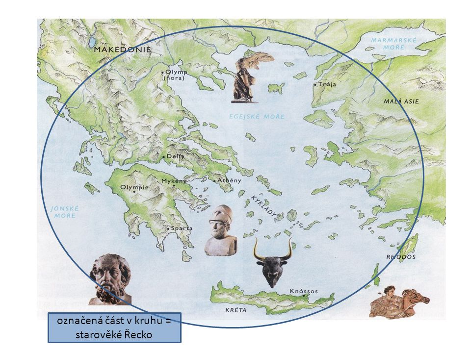 označená část v kruhu = starověké Řecko
