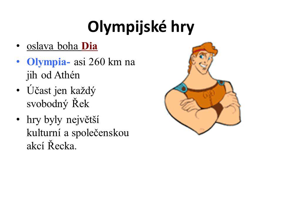 Olympijské hry oslava boha Dia Olympia- asi 260 km na jih od Athén