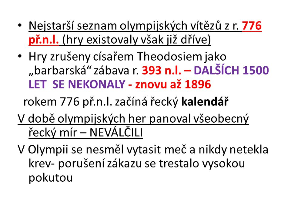 Nejstarší seznam olympijských vítězů z r. 776 př. n. l