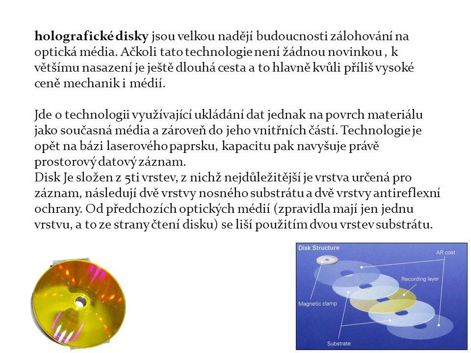 holografické disky jsou velkou nadějí budoucnosti zálohování na optická média. Ačkoli tato technologie není žádnou novinkou , k většímu nasazení je ještě dlouhá cesta a to hlavně kvůli příliš vysoké ceně mechanik i médií.