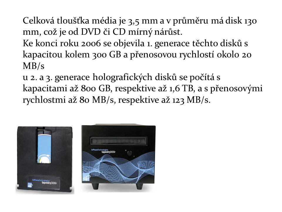 Celková tloušťka média je 3,5 mm a v průměru má disk 130 mm, což je od DVD či CD mírný nárůst.