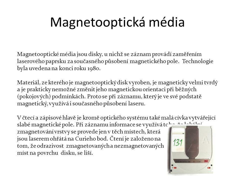 Magnetooptická média Magnetooptické média jsou disky, u nichž se záznam provádí zaměřením.