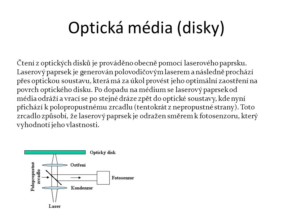 Optická média (disky) Čtení z optických disků je prováděno obecně pomocí laserového paprsku.