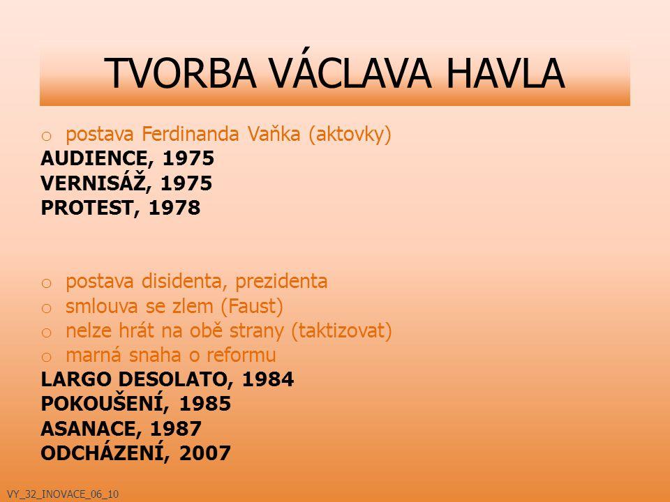TVORBA VÁCLAVA HAVLA postava Ferdinanda Vaňka (aktovky) AUDIENCE, 1975