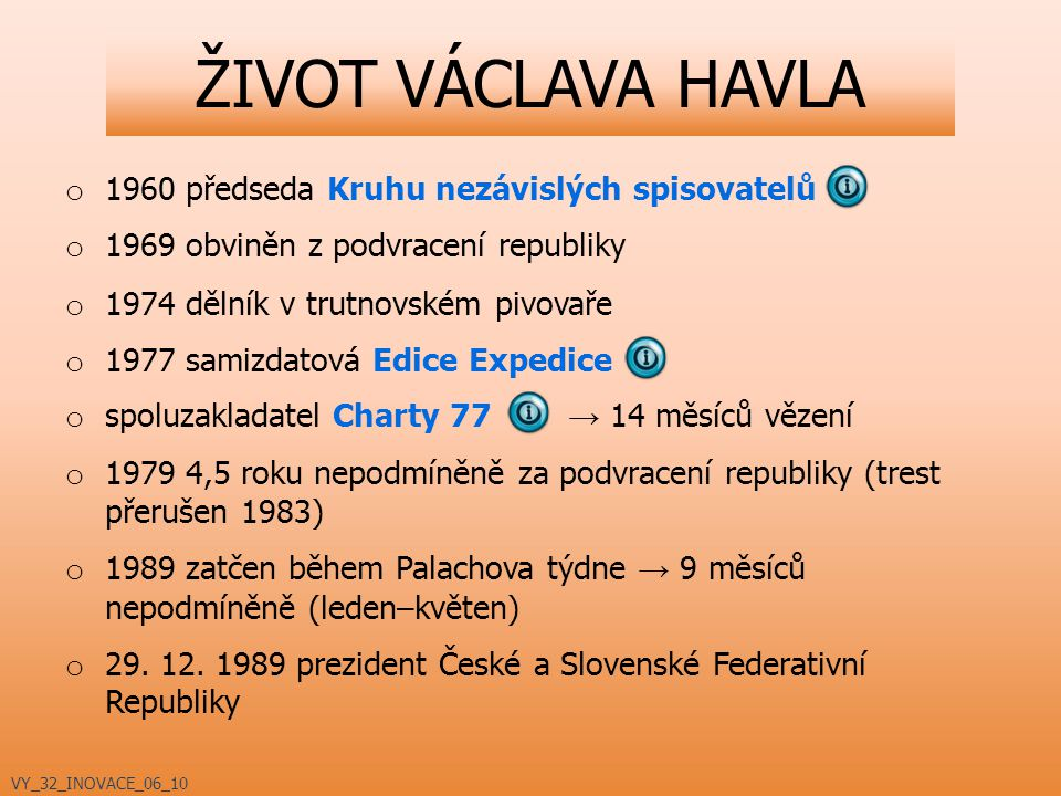 ŽIVOT VÁCLAVA HAVLA 1960 předseda Kruhu nezávislých spisovatelů