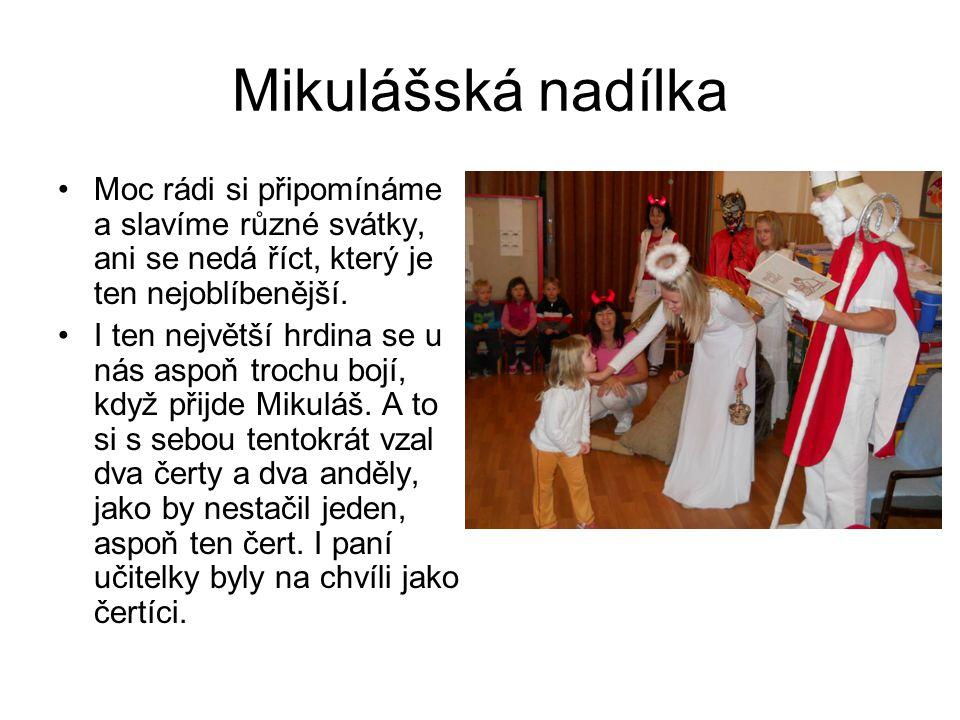 Mikulášská nadílka Moc rádi si připomínáme a slavíme různé svátky, ani se nedá říct, který je ten nejoblíbenější.